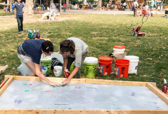Paper Pulp Printing in Clark Park 2013